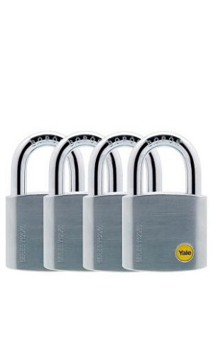 Yale Y120B/50/127/1 Brass Padlock with Chrome Finish (50 mm) - 1 pack
