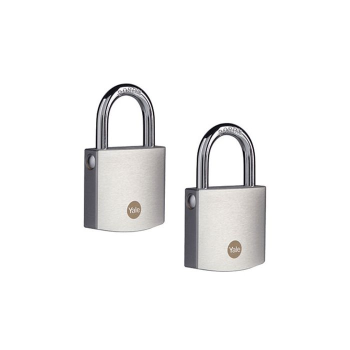 Yale Y120B/50/127/2 Brass Padlock with Chrome Finish (50 mm) - 2 pack