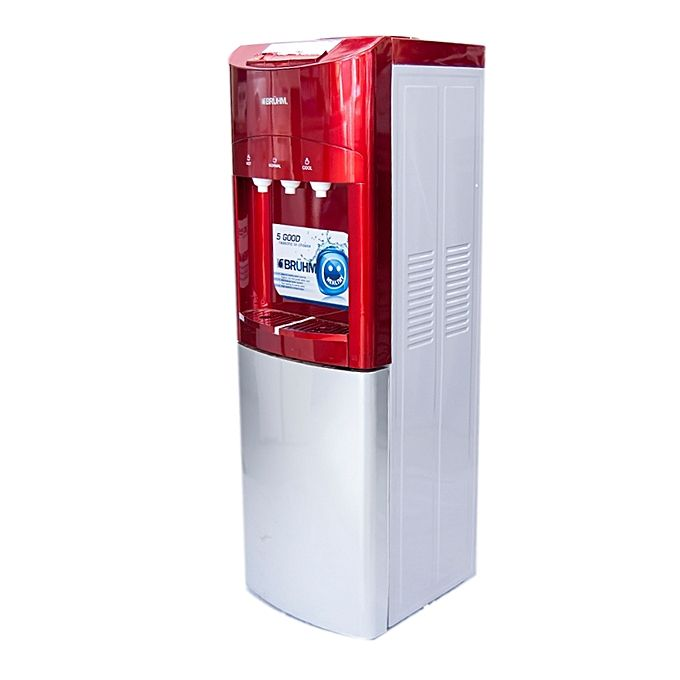 Bruhm BWD-HNC-89R Hot, Normal and Cold free standing water dispenser, Red and silver