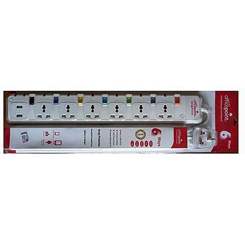 Office Point 6 Way Power Extension with USB